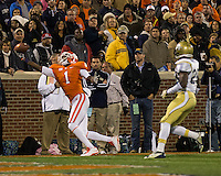 The eighth ranked Clemson Tigers defeat the Georgia Tech Yellow Jackets at Death Valley 55-31 in an ACC matchup.  Clemson Tigers wide receiver Martavis Bryant (1) stretches for a pass