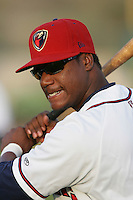 April 17, 2010: Rayner Contreras of the Lancaster JetHawks before game against the Rancho Cucamonga Quakes at Clear Channel Stadium in Lancaster,CA.  Photo by Larry Goren/Four Seam Images