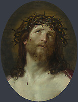 Full title: Head of Christ Crowned with Thorns<br /> Artist: After Guido Reni<br /> Date made: 1640-1749