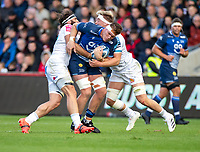3rd October 2021; AJ Bell stadium, Eccles, Greater Manchester, England: Gallagher Premiership Rugby, Sale v Exeter ;  Jono Ross (C) of Sale Sharks tackled by  Dave Ewers of Exeter Chiefs