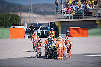 VALENCIA, SPAIN - NOVEMBER 8: Accident during Valencia MotoGP 2015 at Ricardo Tormo Circuit on November 8, 2015 in Valencia, Spain