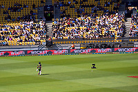 Australia's Aaron Finch walks off after his dismissal during the 5th international men's T20 cricket match between the New Zealand Black Caps and Australia at Sky Stadium in Wellington, New Zealand on Sunday, 7 March 2021. Photo: Dave Lintott / lintottphoto.co.nz