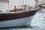Corsica, France, young woman on yacht, Saint Florent, Mediterranean Coast, Coastal towns in Corsica,
