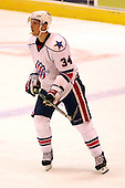 December 30th, 2007:  David Brine (34) of the Rochester Amerks looks for the puck during the second period of play.  The Syracuse Crunch shutout the Rochester Amerks 4-0 to earn the win at Blue Cross Arena at the War Memorial in Rochester, NY.  Photo Copyright Mike Janes Photography 2007.