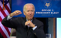 United States President-elect Joe Biden participates in a Virtual Roundtable with Frontline Health Care Workers from Wilmington, Delaware on Wednesday, November 18, 2020.  The President-elect took issue with the GSA and its unwillingness to certify his election.<br /> Credit: Biden Transition via CNP /MediaPunch