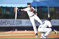 Asheville Tourists third baseman Johnny Cresto (17) throws to first base during a game against the Lakewood BlueClaws at McCormick Field on August 5, 2019 in Asheville, North Carolina. The BlueClaws defeated the Tourists 4-2. (Tony Farlow/Four Seam Images)