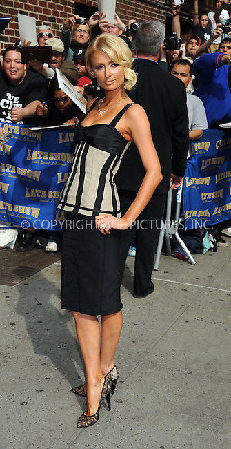 WWW.ACEPIXS.COM . . . . .  ....May 8 2008, New York City....TV Personality Paris Hilton made an appearance on the 'Late Show with David Letterman' at the Ed Sullivan Theatre in midtown manhattan.....Please byline: KRISTIN CALLAHAN - ACEPIXS.COM.... *** ***..Ace Pictures, Inc:  ..te: (646) 769 0430..e-mail: info@acepixs.com..web: http://www.acepixs.com