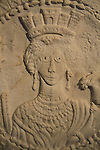 Israel, Jerusalem, relief of Goddess Tyche, marble medallion from a Church in Hurvat Tinshemet, 582 AD, at the Israel Museum