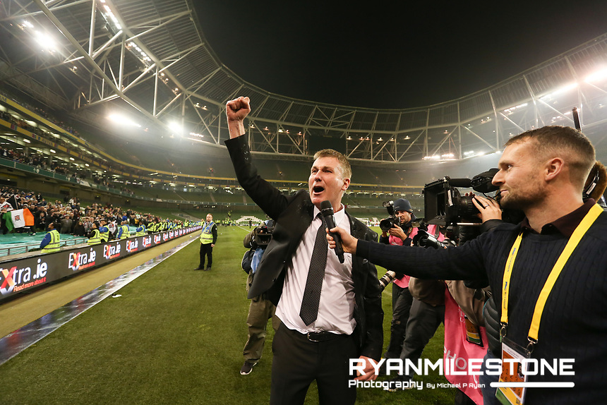 Stephen Kenny is interviewed by Conan Byrne at the end of the  Irish Daily Mail FAI Cup Final between Dundalk and Cork City, on Sunday 4th November 2018, at the Aviva Stadium, Dublin. Mandatory Credit: Michael P Ryan.