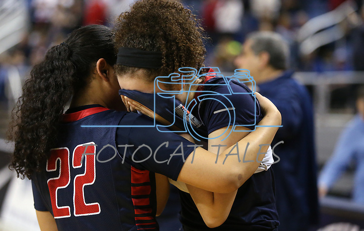 Liberty Patriots Ahlia Tai and Jazmin O'Bannon console each other on the sidelines after losing 50-39 to the Reno Huskies in the Division I title game in the NIAA basketball state tournament at Lawlor Events Center, in Reno, Nev., on Friday, Feb. 28, 2014. (Cathleen Allison/Las Vegas Review-Journal)