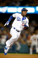 Hanley Ramirez #13 of the Los Angeles Dodgers runs the bases during a game against the San Francisco Giants at Dodger Stadium on October 02, 2012 in Los Angeles, California. San Francisco defeated Los Angeles 4-3. (Larry Goren/Four Seam Images)