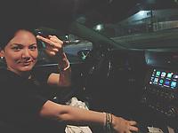 Marisol Soto makes a sign with her finger. Kia<br /> Marisol Soto hace una señal con el dedo de la mano. Kia