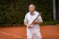 Hilversum, The Netherlands,  August 20, 2021,  Tulip Tennis Center, NKS, National Senior Tennis Championships, Men's Doubles 80+,  Boetie Noé (NED)<br /> Photo: Tennisimages/Henk Koster