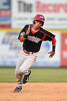 Batavia Muckdogs shortstop Aaron Blanton (11) running the bases during a game against the Tri-City ValleyCats on August 2, 2014 at Joseph L. Bruno Stadium in Troy, New York.  Tri-City defeated Batavia 8-4.  (Mike Janes/Four Seam Images)