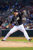 Charlotte Knights starting pitcher Chris Beck (16) in action against the Pawtucket Red Sox at BB&T Ballpark on August 9, 2014 in Charlotte, North Carolina.  The Red Sox defeated the Knights  5-2.  (Brian Westerholt/Four Seam Images)