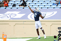 CHAPEL HILL, NC - OCTOBER 10: Dyami Brown #2 of North Carolina celebrates his 43-yard touchdown reception during a game between Virginia Tech and North Carolina at Kenan Memorial Stadium on October 10, 2020 in Chapel Hill, North Carolina.