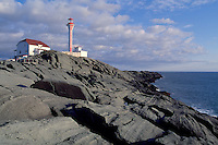 Cape Forchu Lightstation (built 1962) near Yarmouth, Nova Scotia, Canada - Lighthouse / Light House on Volcanic Rock Coastline (Headland) - Yarmouth & Acadian Shores Region