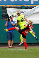 Rochester, NY - Saturday July 09, 2016: Seattle Reign FC midfielder Jessica Fishlock (10), Western New York Flash midfielder McCall Zerboni (7) during a regular season National Women's Soccer League (NWSL) match between the Western New York Flash and the Seattle Reign FC at Frontier Field.