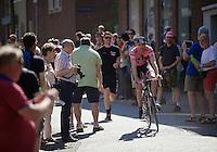 maglia rosa/man in pink Tom Dumoulin (NLD/Giant-Alpecin) through the streets of Nijmegen (for a sunday morning stroll?)<br /> <br /> stage 3: Nijmegen-Arnhem (NLD) 190km<br /> 99th Giro d'Italia 2016