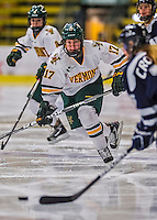 2 February 2013: University of Vermont Catamount defender Delia McNally, a Sophomore from Glen Head, New York, in action against the University of New Hampshire Wildcats at Gutterson Fieldhouse in Burlington, Vermont. The Lady Wildcats defeated the Lady Catamounts 4-2 in Hockey East play. Mandatory Credit: Ed Wolfstein Photo