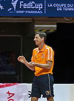 Arena Loire,  Trélazé,  France, 16 April, 2016, Semifinal FedCup, France-Netherlands, First match: captain Paul Haarhuis (NED)<br /> Photo: Henk Koster/Tennisimages