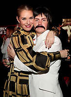 """LOS ANGELES - OCTOBER 26: (L-R) Leslie Grossman and Evan Peters attend the red carpet event to celebrate 100 episodes of FX's """"American Horror Story"""" at Hollywood Forever Cemetery on October 26, 2019 in Los Angeles, California. (Photo by John Salangsang/FX/PictureGroup)"""