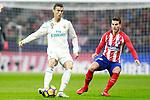 Atletico de Madrid's Lucas Hernandez (r) and Real Madrid CF's Cristiano Ronaldo during La Liga match. November 18,2017. (ALTERPHOTOS/Acero)