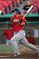Garrett Weber #7 of the Visalia Rawhide bats against the High Desert Mavericks at Stater Bros. Stadium on May 15, 2012 in Adelanto,California. (Larry Goren/Four Seam Images)