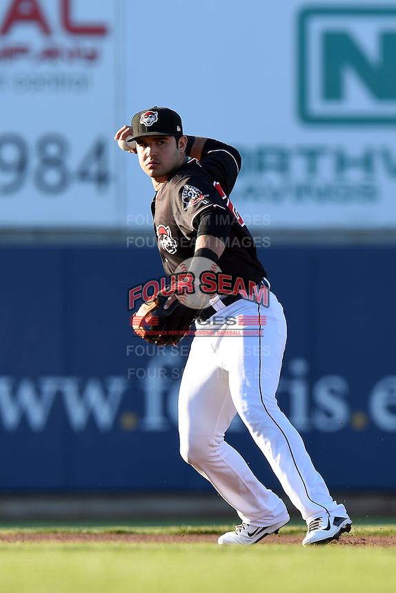 Erie SeaWolves shortstop Eugenio Suarez (27) throws to first during a game against the Akron RubberDucks on May 17, 2014 at Jerry Uht Park in Erie, Pennsylvania.  Erie defeated Akron 2-1.  (Mike Janes/Four Seam Images)
