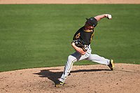 Pittsburgh Pirates pitcher Shea Spitzbarth (66) during a Major League Spring Training game against the Baltimore Orioles on February 28, 2021 at Ed Smith Stadium in Sarasota, Florida.  (Mike Janes/Four Seam Images)