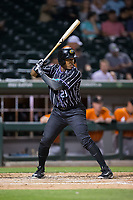 Rymer Liriano (29) of the Charlotte Knights at bat against the Norfolk Tides at BB&T BallPark on May 2, 2017 in Charlotte, North Carolina.  The Knights defeated the Tides 8-3.  (Brian Westerholt/Four Seam Images)