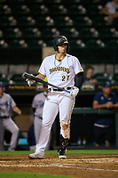 Bradenton Marauders Abrahan Gutierrez (27) bats during Game One of the Low-A Southeast Championship Series against the Tampa Tarpons on September 21, 2021 at LECOM Park in Bradenton, Florida.  (Mike Janes/Four Seam Images)