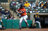 Branden Comia (23) of the Illinois Fighting Illini at bat against the West Virginia Mountaineers at TicketReturn.com Field at Pelicans Ballpark on February 23, 2020 in Myrtle Beach, South Carolina. The Fighting Illini defeated the Mountaineers 2-1.  (Brian Westerholt/Four Seam Images)