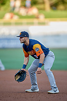 Seth Brown (9) of the Las Vegas Aviators during the game against the Salt Lake Bees at Smith's Ballpark on July 20, 2019 in Salt Lake City, Utah. The Aviators defeated the Bees 8-5. (Stephen Smith/Four Seam Images)