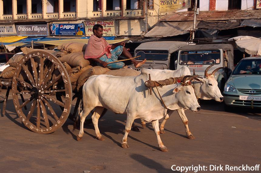 Indien, Orissa, Puri, Ochsenwagen
