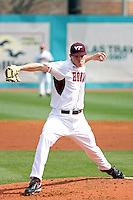 Pitcher Joe Mantiply #14 of the Virginia Tech Hokies on the mound during a game against the University of Indiana Hoosiers at Watson Stadium at Vrooman Field in Conway, South Carolina on February 18, 2011. Photo by Robert Gurganus/Four Seam Images