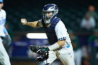 North Carolina Tar Heels catcher Cody Roberts (11) chases a runner back towards third base during the game against the Miami Hurricanes in the second semifinal of the 2017 ACC Baseball Championship at Louisville Slugger Field on May 27, 2017 in Louisville, Kentucky. The Tar Heels defeated the Hurricanes 12-4. (Brian Westerholt/Four Seam Images)