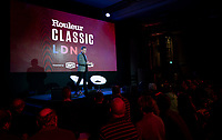 """Matt Stevens welcoming his guests <br /> <br /> Rouleur Classic London 2019<br /> """"The World's Finest Road Cycling Exhibition""""<br /> <br /> ©kramon"""