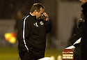 26/12/2005         Copyright Pic: James Stewart.File Name : sct_jspa13_motherwell_v_aberdeen.ABERDEEN MANAGER JIMMY CALDERWOOD CAN'T BEAR TO WATCH.......Payments to :.James Stewart Photo Agency 19 Carronlea Drive, Falkirk. FK2 8DN      Vat Reg No. 607 6932 25.Office     : +44 (0)1324 570906     .Mobile   : +44 (0)7721 416997.Fax         : +44 (0)1324 570906.E-mail  :  jim@jspa.co.uk.If you require further information then contact Jim Stewart on any of the numbers above.........