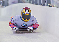 9 January 2016: Sungbin Yun, competing for South Korea, crosses the finish line on his second run of the day during the BMW IBSF World Cup Skeleton Championships at the Olympic Sports Track in Lake Placid, New York, USA. Yun ended the day with a combined 2-run time of 1:48.76 and a silver medal, also breaking the 10-year old track start-time record on both his runs. Mandatory Credit: Ed Wolfstein Photo *** RAW (NEF) Image File Available ***
