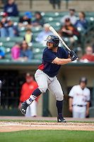Toledo Mudhens right fielder Tyler Collins (18) at bat during a game against the Rochester Red Wings on June 12, 2016 at Frontier Field in Rochester, New York.  Rochester defeated Toledo 9-7.  (Mike Janes/Four Seam Images)