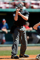 Home plate umpire Blake Felter makes a call during a minor league Spring Training game between the Baltimore Orioles and Atlanta Braves at Al Lang Field on March 13, 2013 in St. Petersburg, Florida.  (Mike Janes/Four Seam Images)