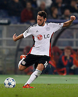 Calcio, Champions League, Gruppo E: Roma vs Bayer Leverkusen. Roma, stadio Olimpico, 4 novembre 2015.<br /> Bayer Leverkusen's Hakan Calhanoglu in action during a Champions League, Group E football match between Roma and Bayer Leverkusen, at Rome's Olympic stadium, 4 November 2015.<br /> UPDATE IMAGES PRESS/Riccardo De Luca