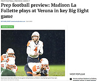 Verona quarterback, Adam Bekx, eyes the line in the rain, as Verona takes on Madison Memorial in Big Eight Conference high school football at Mansfield Stadium on Friday, 9/27/19 in Madison, Wisconsin | Wisconsin State Journal article online at https://madison.com/wsj/sports/high-school/football/prep-football-preview-madison-la-follette-plays-at-verona-in/article_dd7ee10d-5fdf-5d1f-aab3-6c36026e96e3.html