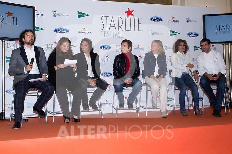 08.05.2012. Presentation of the Starlite Festival in the Casino de Madrid in the presence of some of the protagonists artists as Raphael, Lolita and Antonio Carmona, Paco Roncero for Bulli Catering, the Mayor of Marbella Ángeles Muñoz Uriol and producers of the project Sandra Garcia-Sanjuan and Ignacio Maluquer. The Starlite Festival will be held in Marbella from 13 July to 14 August. In the picture: Ignacio Maluquer, Sandra Garcia-Sanjuan, Antonio Carmona, Raphael,  Ángeles Muñoz Uriol, Lolita, Paco Roncero (Alterphotos/Marta Gonzalez)