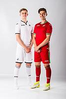 Keston Davies and Jack Evans<br />Swansea City FC kit photo shoot at the Liberty Stadium, Wales, UK. Wednesday 03 May 2017