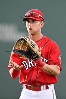 Red Sox prospect center fielder Cole Brannen (5) of the Greenville Drive warms up before a game against the Rome Braves on Friday, April 13, 2018, at Fluor Field at the West End in Greenville, South Carolina. Rome won, 10-6. (Tom Priddy/Four Seam Images)