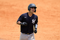 New York Yankees Antonio Gomez (55) rounds the bases after hitting a home run during an Extended Spring Training game against the Detroit Tigers on June 19, 2021 at Tigertown in Lakeland, Florida.  (Mike Janes/Four Seam Images)