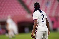 KASHIMA, JAPAN - JULY 27: Crystal Dunn #2 of USA looking on during a game between Australia and USWNT at Ibaraki Kashima Stadium on July 27, 2021 in Kashima, Japan.
