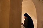 Israel, Jezreel valley, a prayer at Feast of the Transfiguration in the Franciscan Church of the Transfiguration on Mount Tabor